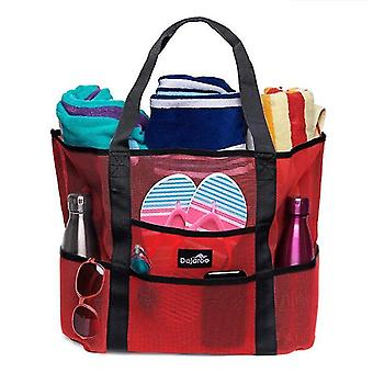 Mesh Beach Bag - Lightweight Tote Bag For Toys(Red)