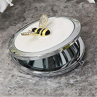 Sophia Silverplate & Crystal Bumble Bee Compact Mirror