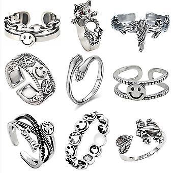 9pcs Retro Ring Set Smiling Face Hug Letters Alloy Woman Ring