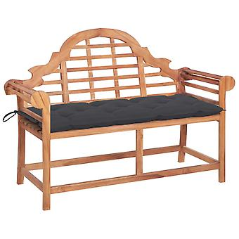 vidaXL garden bench with anthracite pad 120 cm solid wood teak
