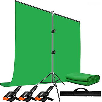 Green Screen Background With Stand ,1.5x2m/5x6.5ft Greenscreen Photography Backdrop Stand Kit For Gaming,photo Studio,stream,chroma Key