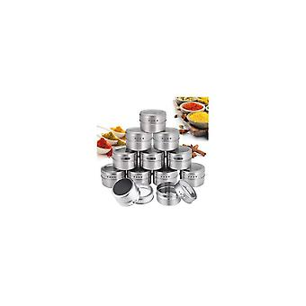 12Pcs/Set Magnetic Spice Tins Round Spice Container Spice Storage Boxes Magnetic Spice Jars for
