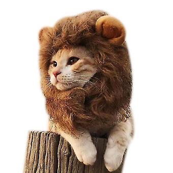 Cat Lion Headgear Funny Cat Cute Hat Pet Accessories(L)