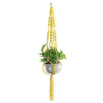 (Gyllene Gula) Växt hängare Macrame hängande planter korg rep blomma kruka hållare trädgård dekoratorer