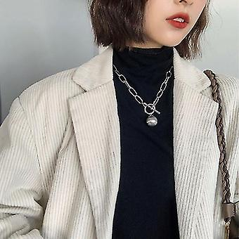 Toggle Clasp Gold Necklaces, Mixed Linked Circle, Minimalist Choker Jewelry(Silver Ball)