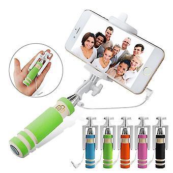 (Green) Huawei P10 Universal Adjustable Mini Selfie Stick Pocket Sized Monopod Built-in Remote Shutter