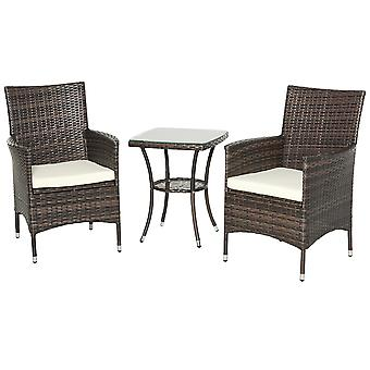 Outsunny Garden Outdoor Rattan Furniture Bistro Set 3 PCs Patio Weave Companion Chair Table Set Conservatory (Brown)