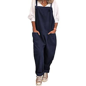 Women Cotton Linen Overall Casual Suspender Pants Lady Summer Trousers
