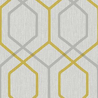 Oria Hex Yellow Grey Wallpaper