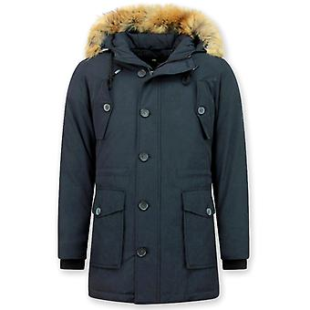 Long Winter coat With Big Real Fur Collar - Blue