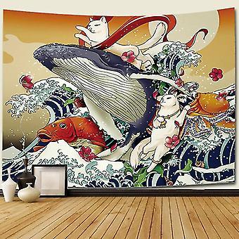 עיצוב הבית מדבקות יפן בסגנון שטיח קיר דגים ukiyo e קישוטי קיר גלים לוויתן מקרמה קיר תלוי שטיח