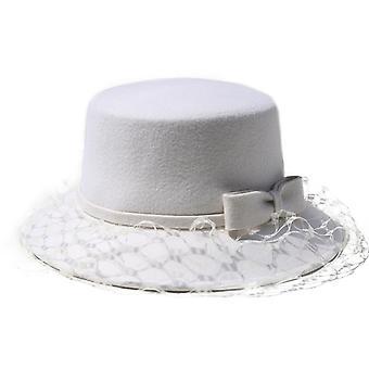 Chapéu da bacia de lã francesa chapéu moda feminina quente arco gaze chapéu novo chapéu pescador tendência no outono e inverno