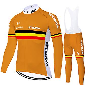 Strava Men's Cycling Jersey Long-sleeved Pro Cycling Bib Shorts Gel Clothing Set - Orange