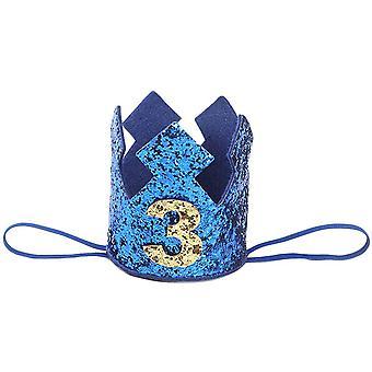 Vauvan glitter-hattu syntymäpäiväjuhlien vauvakutsuille (3 vuotta)