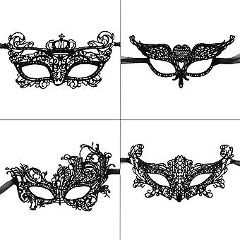 Lace Mask, 4pcs Lady Masquerade Mask Sexy Eye Mask For Halloween Carnival Christmas Party Supplies(black)