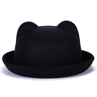 Śliczny wełniany zimowy i jesienny kapelusz z uszamiczarny