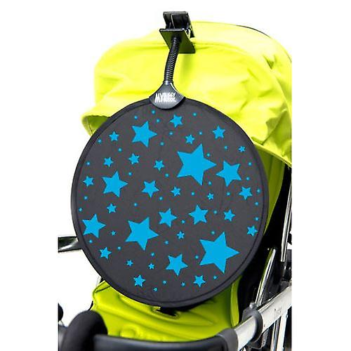 MyBuggy Buddy Sunshade Blue Stars Sun Shade Clip on Car Blind UPF50+