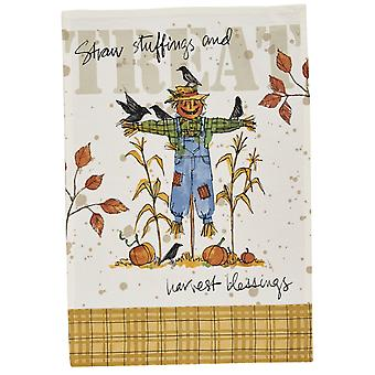 Straw Stuffings and Harvest Blessings Scarecrow Printed Kitchen Dish Towel