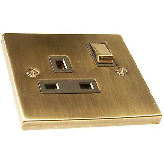 Causeway 1 Gang 13A DP Ingot Switched Socket, Antique Brass