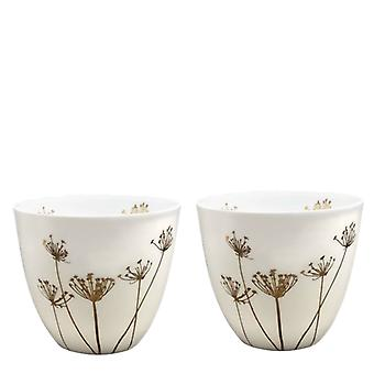 Light-Glow Gold Glazed Candle Holder Set of 2, Cow Parsley