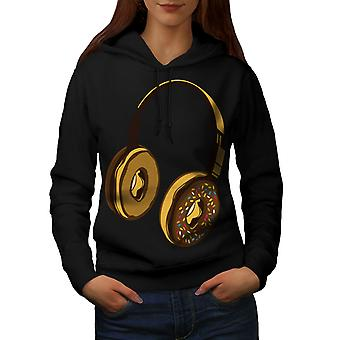 Headset Donut Music Music Women BlackHoodie | Wellcoda