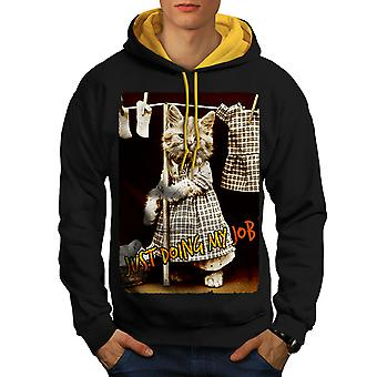 Doing Job Kitty Cute Men Black (Gold Hood)Contrast Hoodie | Wellcoda