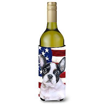 French Bulldog Black White Patriotic Wine Bottle Beverge Insulator Hugger
