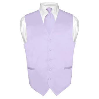 Men's Dress Vest & NeckTie Solid Purple Neck Tie Set