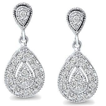 1/2 poire forme Dangle Diamond Boucles d'oreilles 10K or blanc