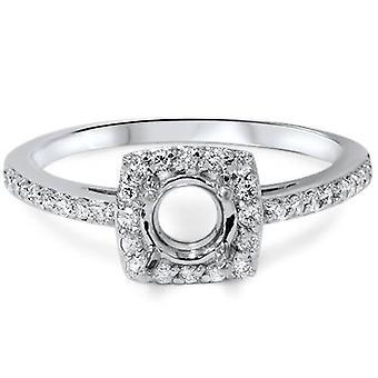 1 / 3ct diamant Halo 14K vitguld förlovningsring inställning
