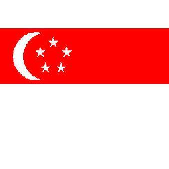 Singaporen lippu 5 jalkaa x 3 ft jossa ripustamista varten