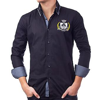 Mäns Långärmad polo Skjorta Slim Fit patchar fritid skjorta Casual (5 färger)