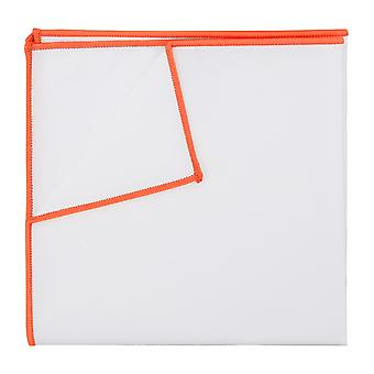 White Cotton Pocket Square With Tangerine Orange Trim