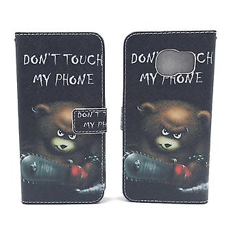 Mobile phone case pouch for mobile Samsung Galaxy S7 edge lettering bear with chainsaw
