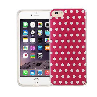 Caja del teléfono celular por motivo de caso bolsa protectora Apple iPhone 7 cubierta slim TPU + armadura protección vidrio 9 H lunares rosa