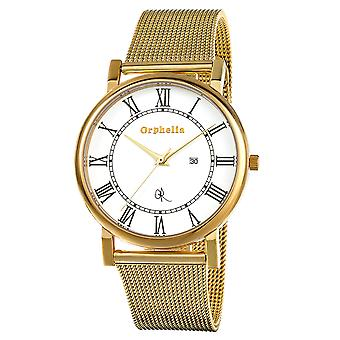 ORPHELIA Mens Analogue Watch Milanese Gold Stainless steel 153-9704-12