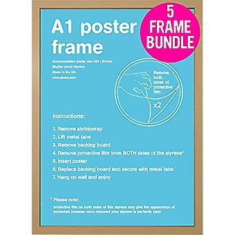 GB affiches 5 A1 chêne Poster Frames 59,4 x 84,1 cm Bundle