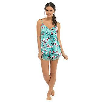 السيدات الأزهار كامي Strappy قمة الرباط تقليم السراويل الصيف بيجاما بيجامة ملابس النوم