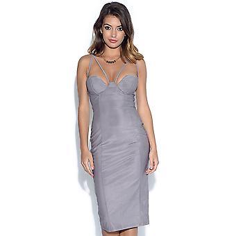 ZELDZAME Strappy uitgesneden Cup grijs Midi jurk