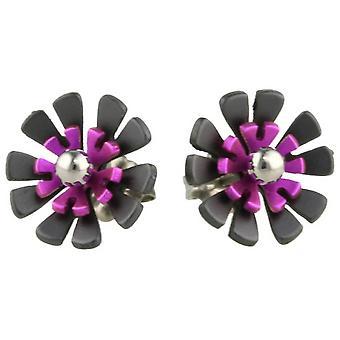 Ti2 Titanium Black Back Ten Petal Flower Stud Earrings - Candy Pink