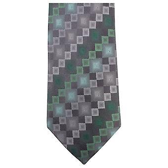Knightsbridge dassen vierkant patroon stropdas - groen/grijs