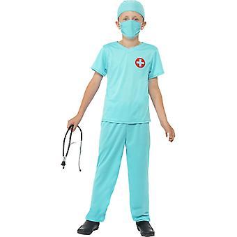 外科医生 服装 蓝色 上衣 帽子 Eism 面具 & 听诊器