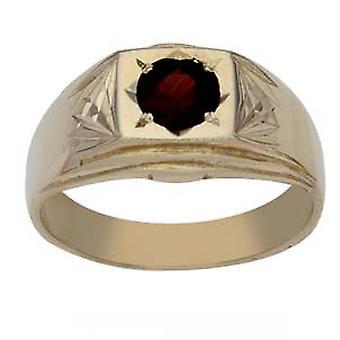 9ct arany négyzet gyémánt vágott vállát meg Garnet Dress Ring méret Z