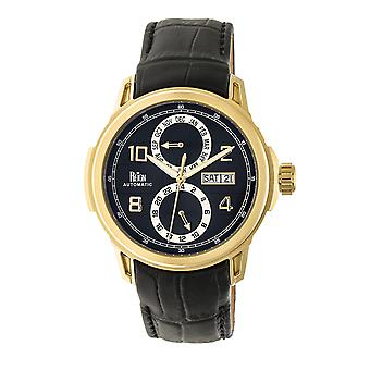 Reign Cascade Automatic Leather-Band Watch w/Day/Date - Gold/Black