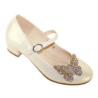 Chicas zapatos de dama de honor de tacón de oro pálido con mariposa brillante