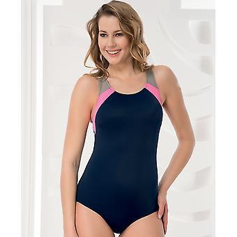 Aqua Perla - Womens  - Performance -navy Blue- One Piece Swimwear- Chlorine Resistant