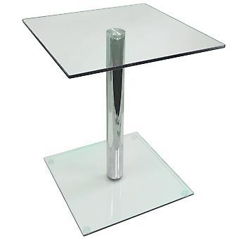 Sloup-kovová a skleněná strana/konec/podstavec pro noční stolek-Clear/Chrome