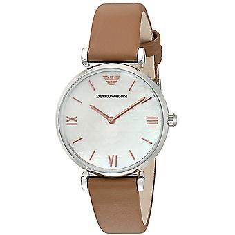 Emporio Armani Women's Ar1988 Retro Brown Leather Quartz Watch
