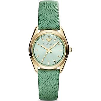 Emporio Armani Ar6034 Women ' s Green dial pulseira de couro Watch