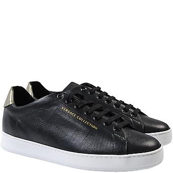 Versace Collection Leather Logo Trainers Black & White